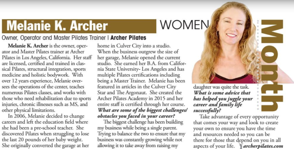 Melanie K Archer of Archer Pilates Is P.O.W.E.R